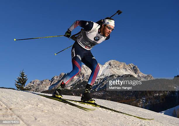 Leif Nordgren of the United States competes in the men's 10 km sprint event during the IBU Biathlon World Cup on December 12 2014 in Hochfilzen...