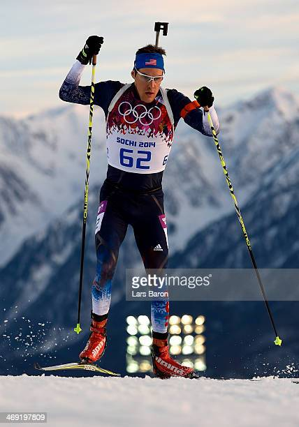 Leif Nordgren of the United States competes in the Men's Individual 20 km during day six of the Sochi 2014 Winter Olympics at Laura Crosscountry Ski...