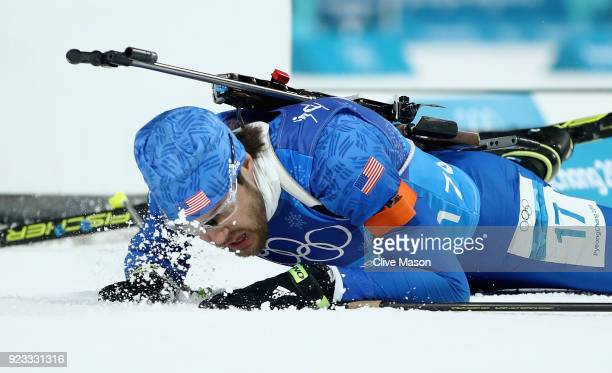 Leif Nordgren of the United States falls at the finish during the Men's 4x75km Biathlon Relay on day 14 of the PyeongChang 2018 Winter Olympic Games...