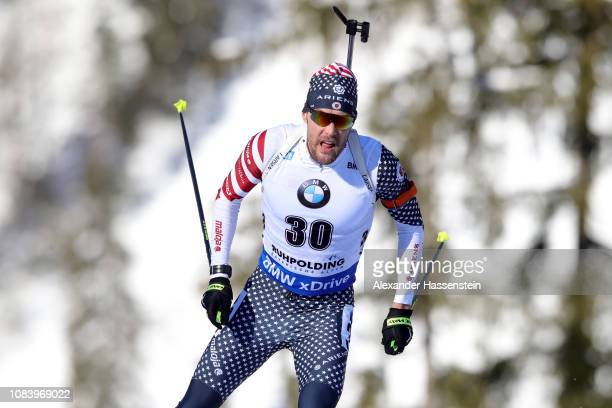 Leif Nordgren of USA competes at the 10 km Men's Sprint during the IBU Biathlon World Cup at Chiemgau Arena on January 17 2019 in Ruhpolding Germany