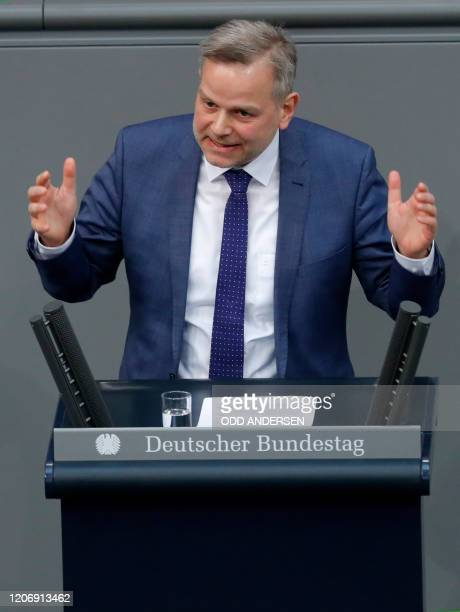 LeifErik Holm German MP of farright Alternative fuer Deutschland party speaks during a session of the Bundestag during which immediate measures in...