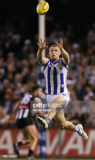Leigh Adams of the Kangaroos marks the ball during the round one AFL match between the North Melbourne Kangaroos and Collingwood Magpies at Etihad...