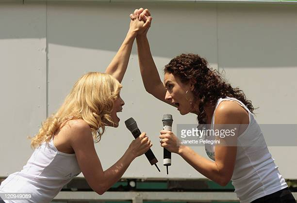 Leigh Ann Larkin and Laura Benanti from Gypsy perform at 1067 Lite fm presents 2008 Broadway in Bryant Park on August 7 2008 in New York City New York
