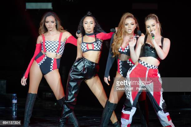 Leigh Anne Pinnock Jesy Nelson Perrie Edwards and Jade Thirlwall from Little Mix perform at Le Zenith on June 8 2017 in Paris France
