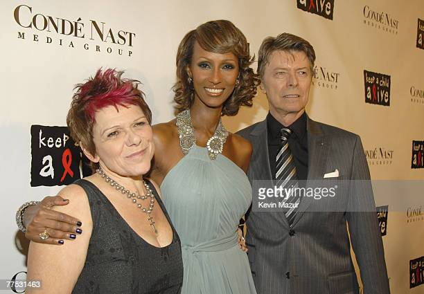 Leigh Blake President of Keep A Child Alive Model Iman and Musician David Bowie arrive at Conde Nast Media Group's 4th Annual Black Ball Concert for...