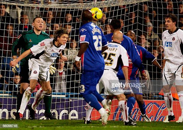 Leigh Bromby of Sheffield United headers off the line in the last minute of the CocaCola Championship match between Crystal Palace and Sheffield...