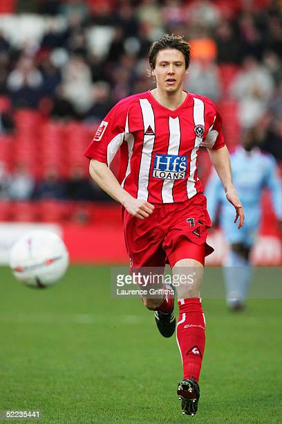 Leigh Bromby of Sheffield United in action during the FA Cup Fourth Round Replay match between Sheffield United and West Ham United at Bramell Lane...
