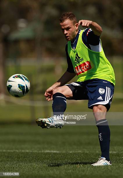 Leigh Broxham kicks the ball during a Melbourne Victory ALeague training session at Gosch's Paddock on October 4 2012 in Melbourne Australia