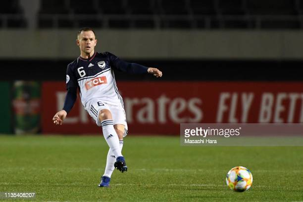 Leigh Broxham of Melbourne Victory in action during the AFC Champions League Group F match between Sanfrecce Hiroshima and Melbourne Victory at Edion...