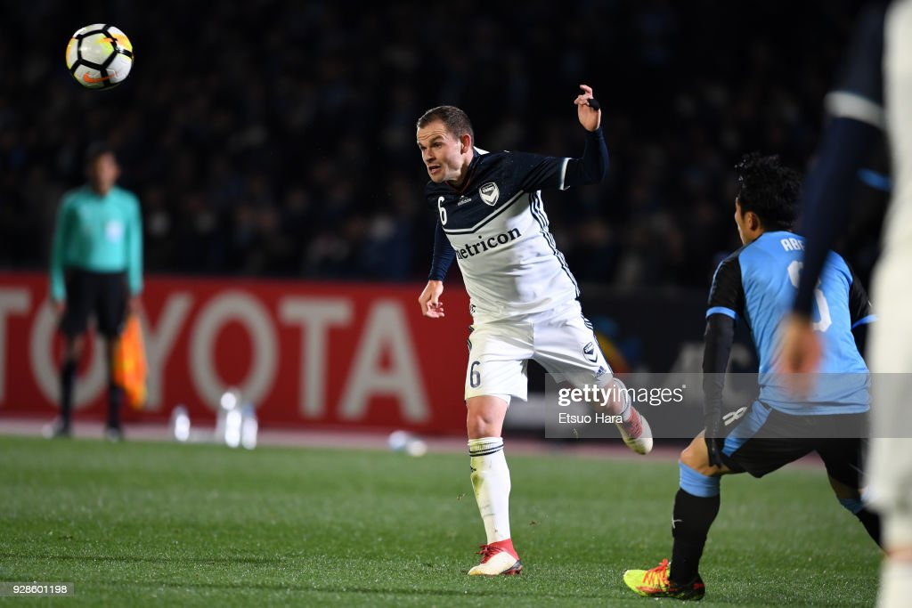 Leigh Broxham of Melbourne Victory in action during the AFC Champions League Group F match between Kawasaki Frontale and Melbourne Victory at Todoroki Stadium on March 7, 2018 in Kawasaki, Kanagawa, Japan.