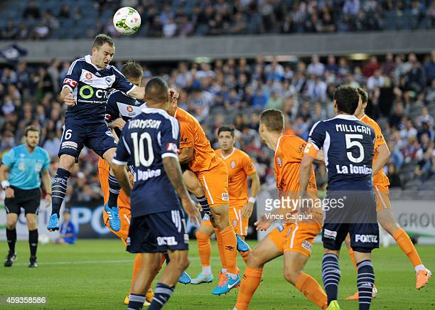 Leigh Broxham of the Melbourne Victory headers for a shot on goal during the round seven ALeague match between the Melbourne Victory and Brisbane...