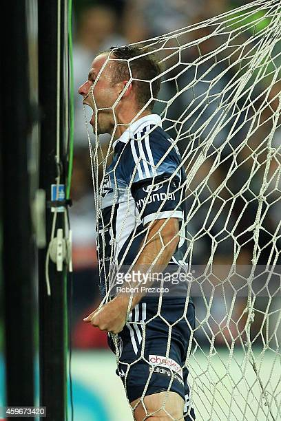 Leigh Broxham of Victory celebrates after scoring a goal during the round eight ALeague match between Melbourne Victory and Adelaide United at AAMI...