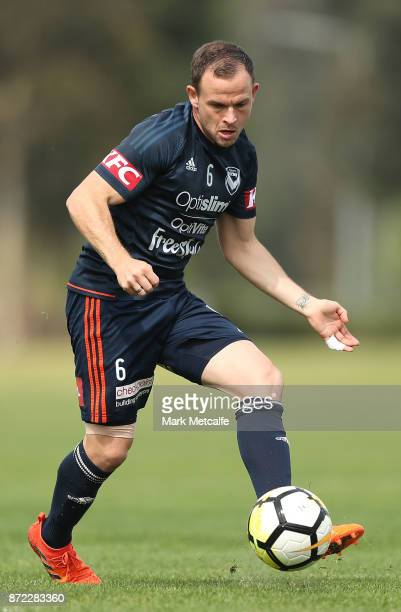 Leigh Broxham passes during a Melbourne Victory ALeague training session at Gosch's Paddock on November 10 2017 in Melbourne Australia