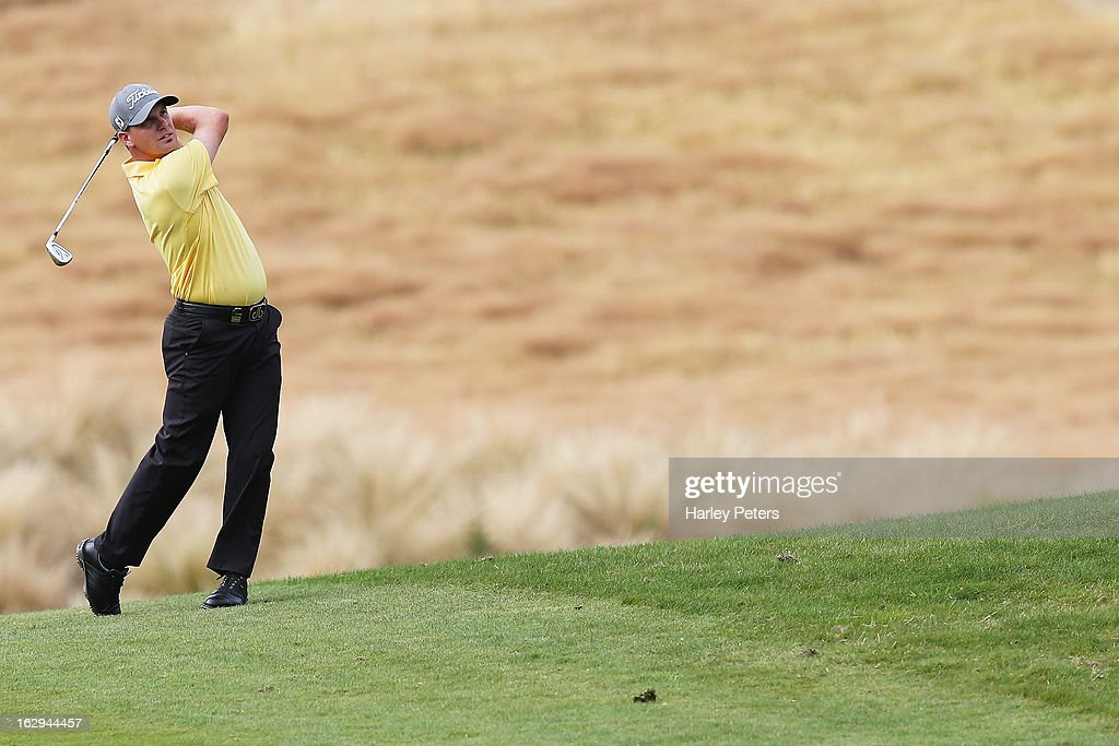 Leigh Deagan of Australia plays a shot during day three of the New Zealand PGA Championship at The Hills Golf Club on March 2, 2013 in Queenstown, New Zealand.