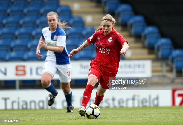 Leigh Dugmore Leicester City Women controls the ball from Ellie Cook of Blackburn Rovers during the FA Women's Premier League Cup Final between...