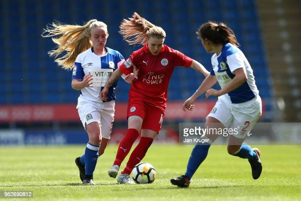 Leigh Dugmore Leicester City Women controls the ball from Ellie Cook and Chelsea Jukes of Blackburn Rovers during the FA Women's Premier League Cup...