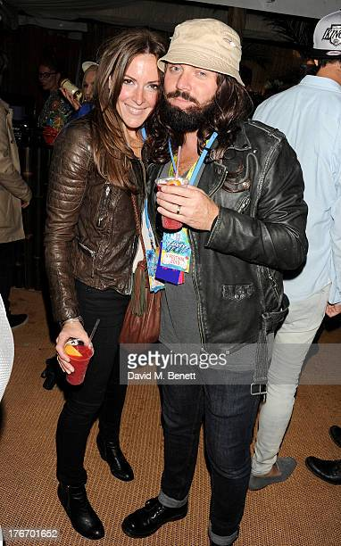 Leigh Francis aka Keith Lemon and Jill Carter attend the Mahiki Coconut Backstage Bar during day 1 of V Festival 2013 at Hylands Park on August 17...