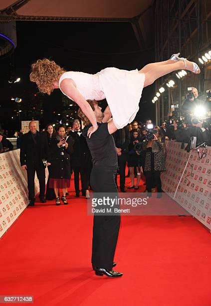 Leigh Francis aka Keith Lemon and Paddy McGuinness reenact a scene from 'Dirty Dancing' at the National Television Awards on January 25 2017 in...