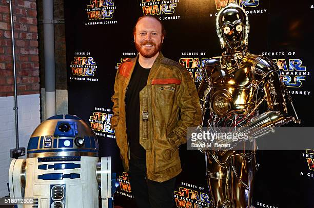 Leigh Francis aka Keith Lemon poses witn R2D2 and C3PO at the UK Gala Screening of 'Secrets Of The Force Awakens A Cinematic Journey' at Picturehouse...