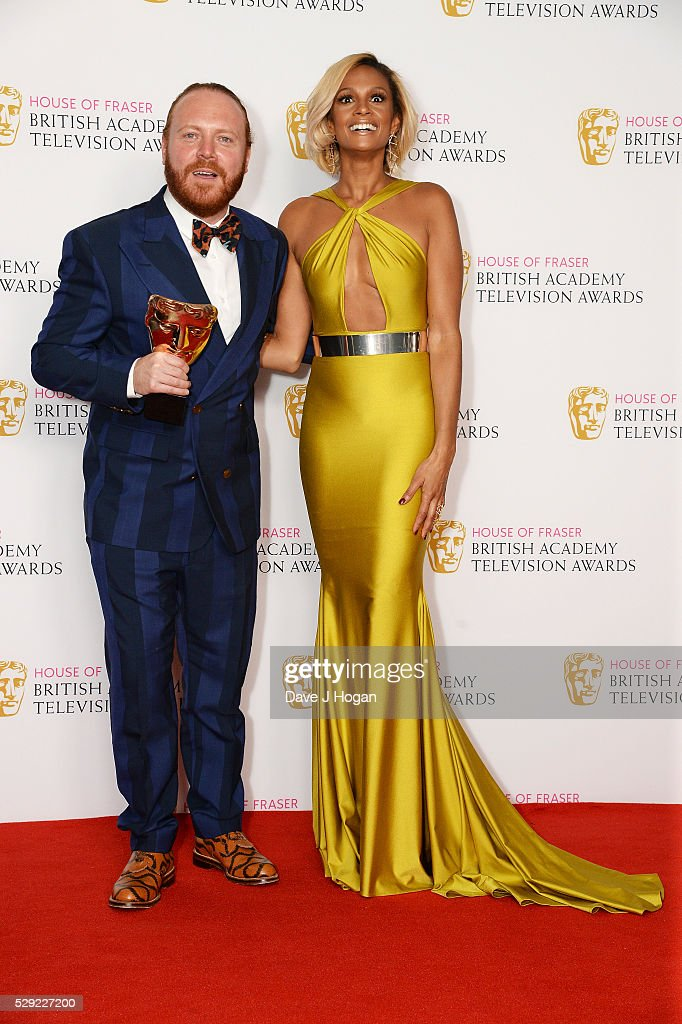 Leigh Francis (L) and Alesha Dixon pose for a photo in the winners room during the House Of Fraser British Academy Television Awards 2016 at the Royal Festival Hall on May 8, 2016 in London, England.