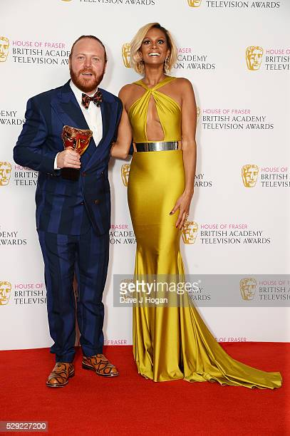Leigh Francis and Alesha Dixon pose for a photo in the winners room during the House Of Fraser British Academy Television Awards 2016 at the Royal...