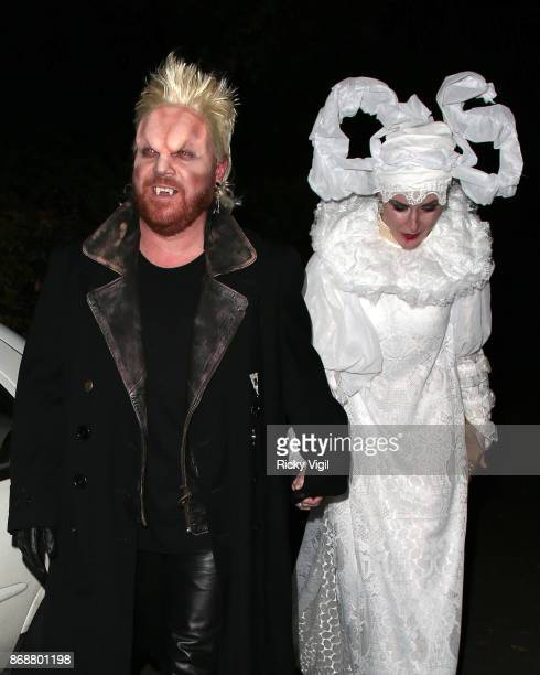 Leigh Francis and Jill Carter seen attending Jonathan Ross Halloween party on October 31 2017 in London England