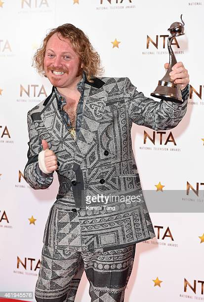 Leigh Francis winner of the Multichannel award for Celebrity Juice poses in the winners room at the National Television Awards at 02 Arena on January...