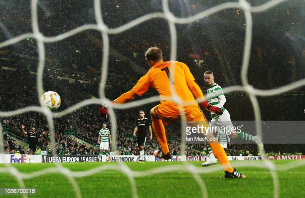 Leigh Griffith of Celtic scores the only goal of the game during the UEFA Europa League Group B match between Celtic and Rosenborg at Celtic Park on...