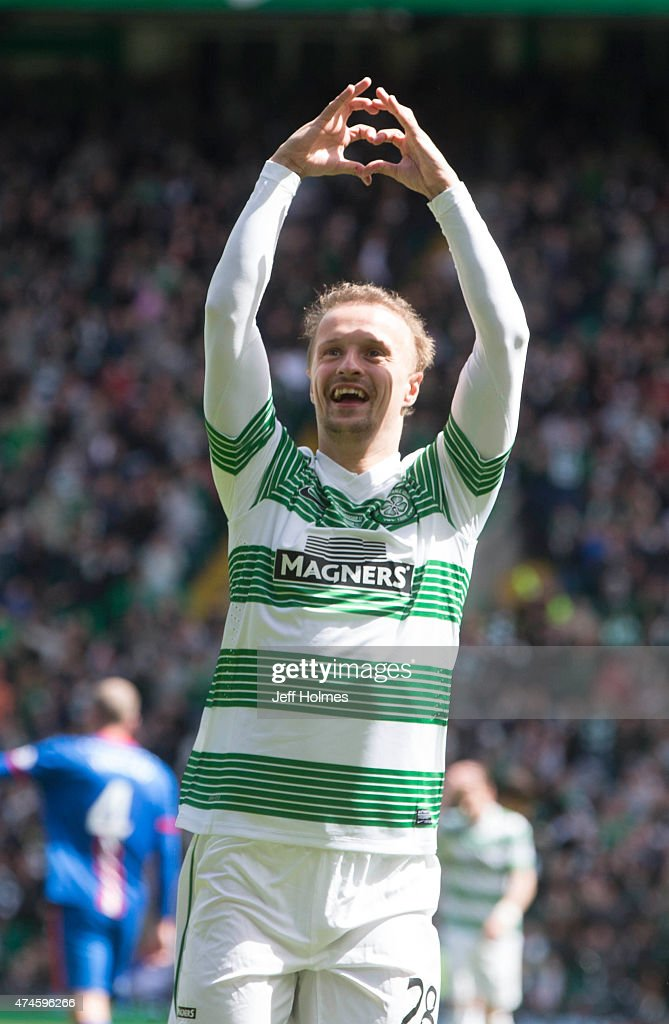 Leigh Griffiths celebrates scoring for Celtic during the Scottish Premiership match between Celtic and Inverness Caley Thistle at Celtic Park on May 24, 2015 in Glasgow, Scotland.