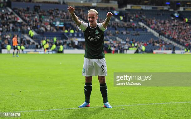 Leigh Griffiths celebrates the winning goal for Hibernian during The William Hill Scottish Cup Semi Final between Falkirk and Hibernian at Hampden...
