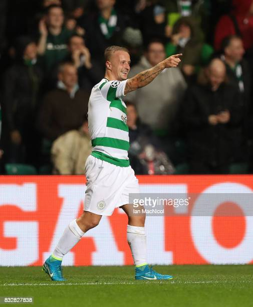 Leigh Griffiths of Celtic celebrates after he scores his team's fifth goal during the UEFA Champions League Qualifying PlayOffs Round First Leg match...