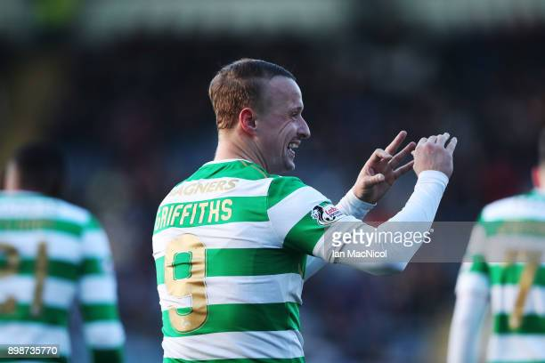 Leigh Griffiths of Celtic celebrates after he scores his team's second goal during the Scottish Premier League match between Dundee and Celtic at...