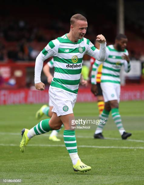 Leigh Griffiths of Celtic celebrates after he scores the opening goal during the Betfred Scottish League Cup round of sixteen match between Partick...