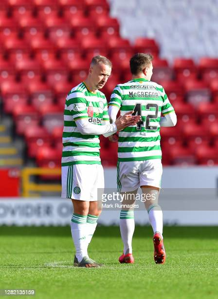 Leigh Griffiths of Celtic celebrates after scoring his sides second goal during the Ladbrokes Scottish Premiership match between Aberdeen and Celtic...
