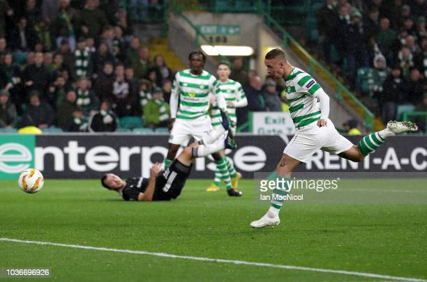 Leigh Griffith of Celtic celebrates after he scores the only goal of the game during the UEFA Europa League Group B match between Celtic and...