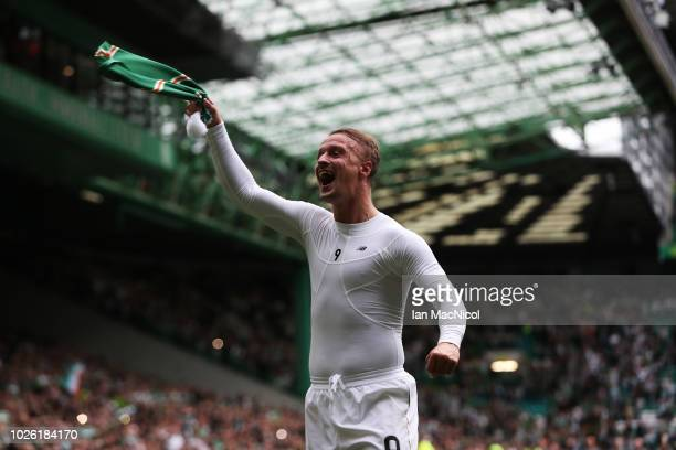 Leigh Griffiths of Celtic celebrates at full time during the Scottish Premier League between Celtic and Rangers at Celtic Park Stadium on September 2...