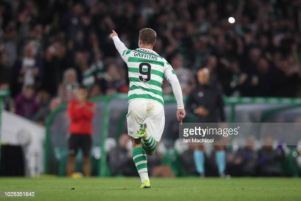 Leigh Griffiths of Celtic celebrates scoring his 100th goal for the club during the second leg of the UEFA Europa League Play Off between Celtic and...