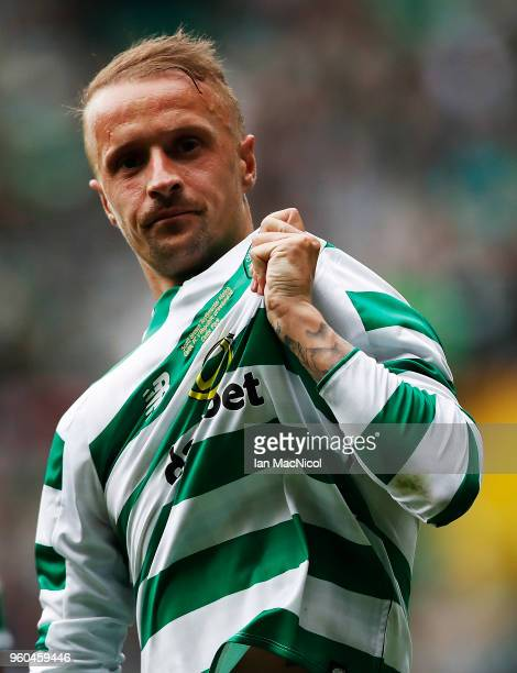 Leigh Griffiths of Celtic celebrates scoring his team's first goal during the Scott Brown testimonial match between Celtic and Republic of Ireland XI...