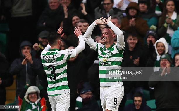 Leigh Griffiths of Celtic celebrates scoring his third goal during the Ladbrokes Premiership match between Celtic and St. Mirren at Celtic Park on...