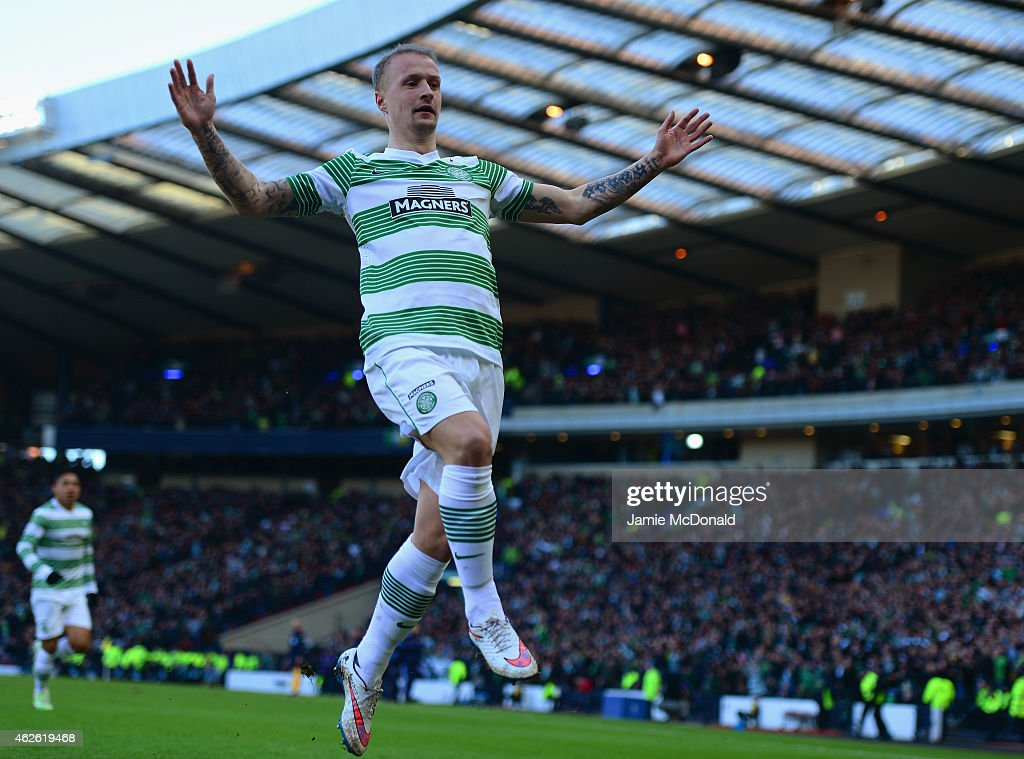 Leigh Griffiths of Celtic celebrates scoring the opening goal during the Scottish League Cup Semi-Final between Celtic and Rangers at Hampden Park on February 1, 2015 in Glasgow, Scotland.