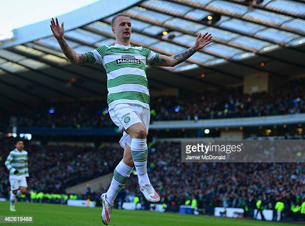Leigh Griffiths of Celtic celebrates scoring the opening goal during the Scottish League Cup Semi-Final between Celtic and Rangers at Hampden Park on...