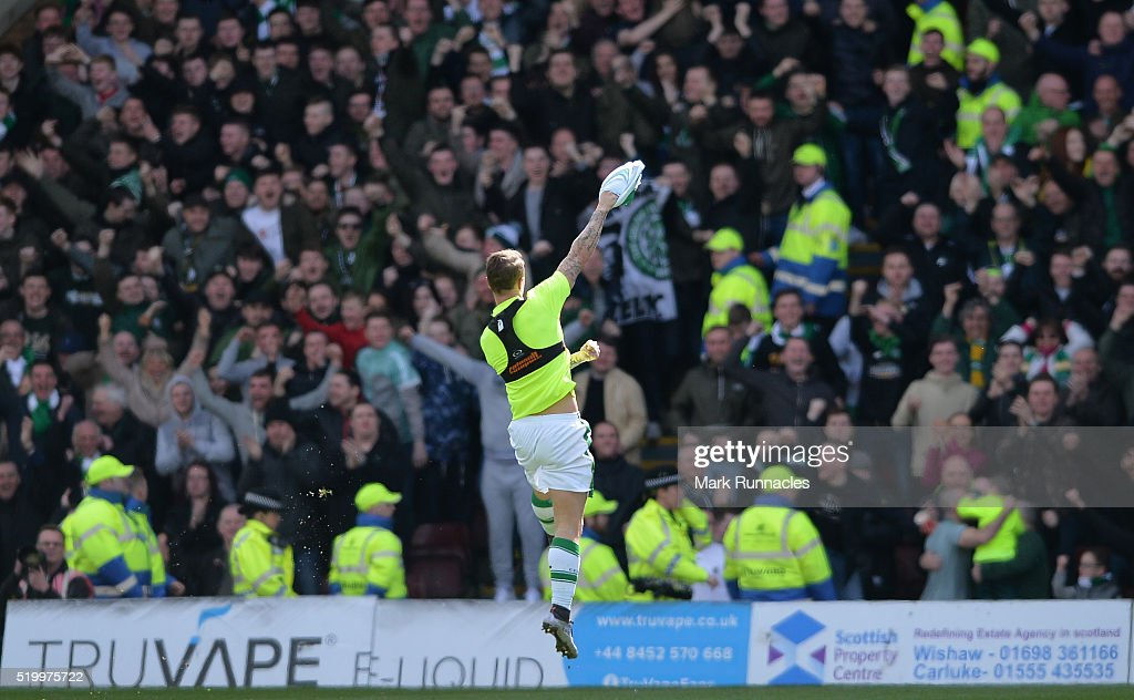 Leigh Griffiths of Celtic celebrates scoring the opening goal of the game during the Ladbrokes Scottish Premiership match between Celtic FC and Motherwell FC at Fir Park on April 9, 2016 in Glasgow, Scotland.