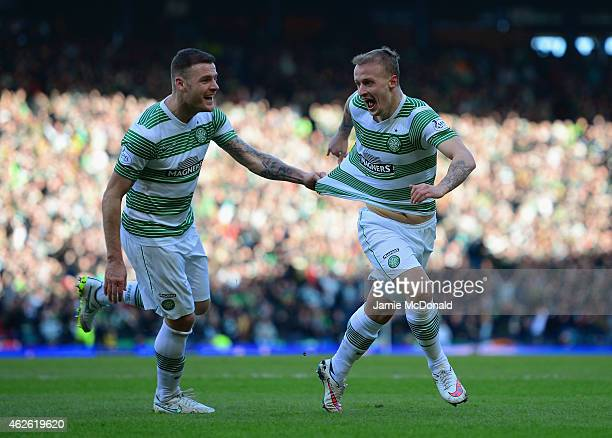 Leigh Griffiths of Celtic celebrates scoring the opening goal with Anthony Stokes of Celtic during the Scottish League Cup Semi-Final between Celtic...