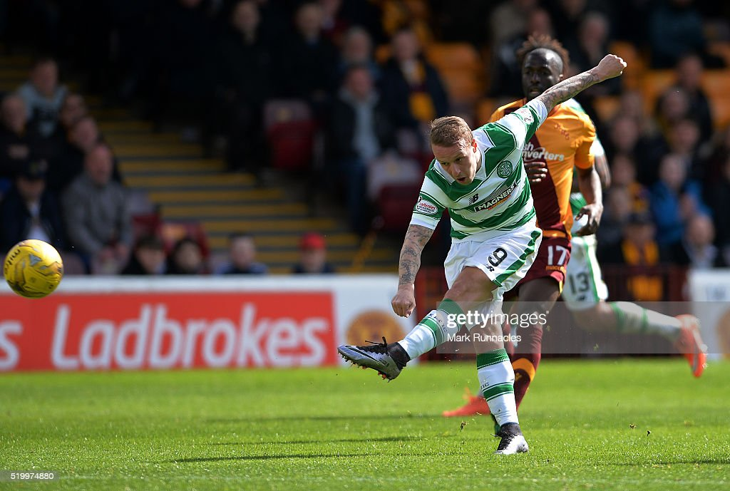 Leigh Griffiths of Celtic has a shot on goal during the Ladbrokes Scottish Premiership match between Celtic FC and Motherwell FC at Fir Park on April 9, 2016 in Glasgow, Scotland.