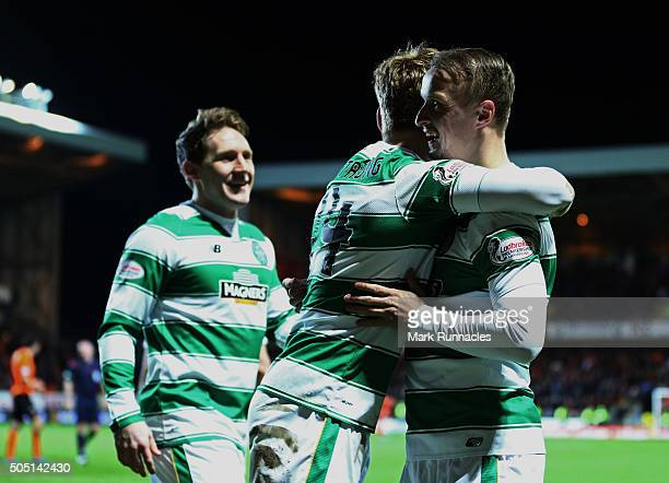 DUNDEE SCOTLAND JANUARY 15 Leigh Griffiths of Celtic is congratulated after scoring his second goal in the second half during the Ladbrokes Scottish...