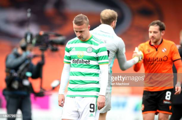 Leigh Griffiths of Celtic looks dejected following the Ladbrokes Scottish Premiership match between Dundee and Celtic at Tannadice Park on March 07,...