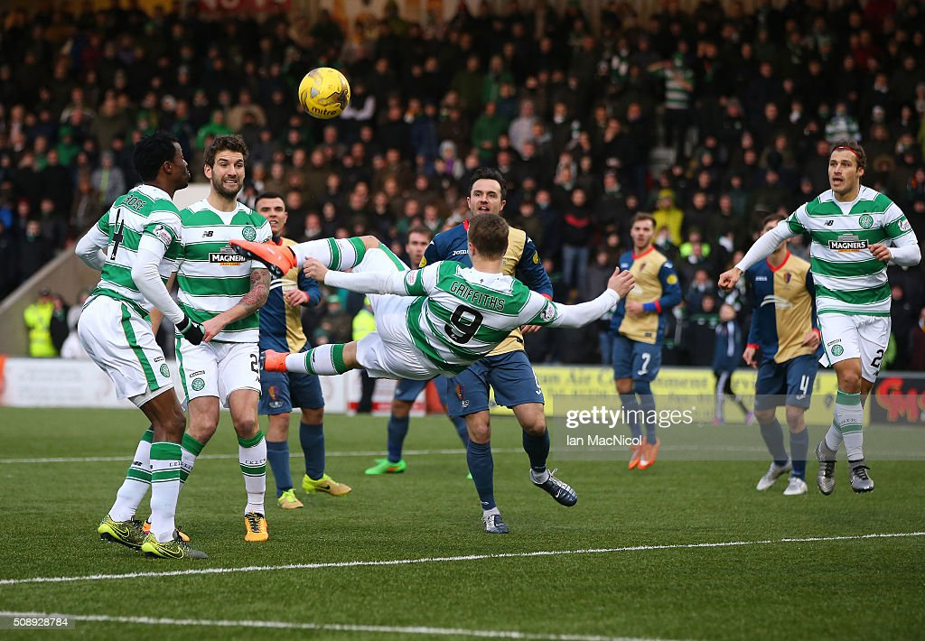 Leigh Griffiths of Celtic performs an overhead kidk which leads to Celtic's second goal during the William Hill Scottish Cup Fifth Round match between East Kilbride and Celtic at Excelsior Stadium on February 7, 2016 in Airdrie, Scotland.
