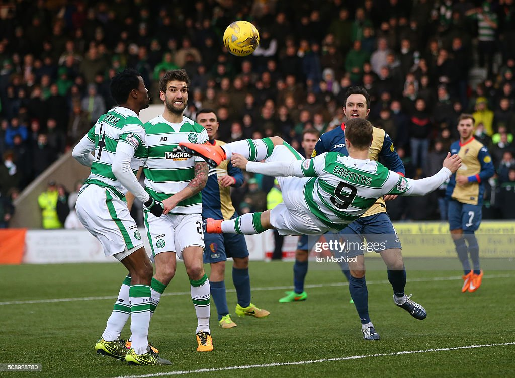 Leigh Griffiths of Celtic preforms an overhead kidk which leads to Celtic's second goal during the William Hill Scottish Cup Fifth Round match between East Kilbride and Celtic at Excelsior Stadium on February 7, 2016 in Airdrie, Scotland.