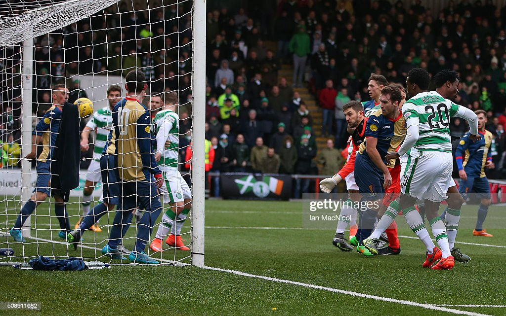 Leigh Griffiths of Celtic scores during the William Hill Scottish Cup Fifth Round match between East Kilbride and Celtic at Excelsior Stadium on February 7, 2016 in Airdrie, Scotland.