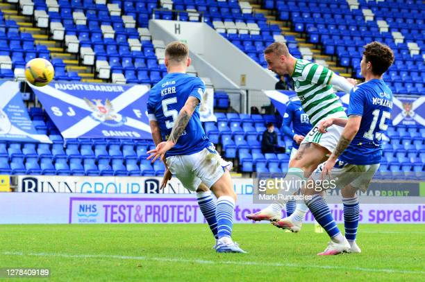 Leigh Griffiths of Celtic scores his sides first goal during the Ladbrokes Scottish Premiership match between St. Johnstone and Celtic at McDiarmid...